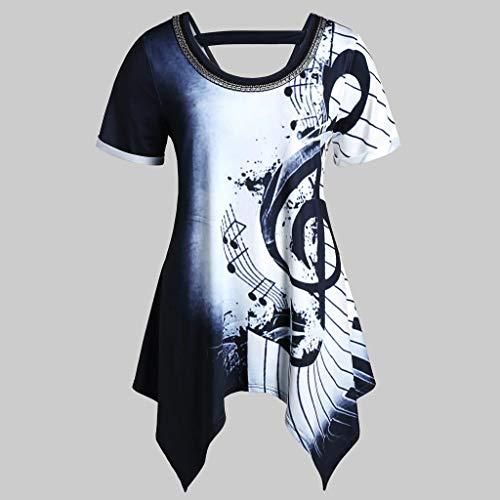 Geflochtene Tunika Top (Junjie Frauen Asymmetrische Musiknoten Drucken Ketten Bluse baumwollhemd bauchfreie festlich Tops Streifen Chiffon Verziert T-Shirt Top Bluse Rot Blau Gelb)
