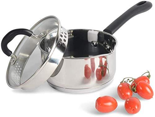 ProCook Gourmet Stainless Steel - Petite Casserole Induction - Poêlon INOX 18 10 - Becs Verseurs - avec Couvercle Passoire Verre Trempé - Poignée Silicone Isolant - 14cm / 1,1l