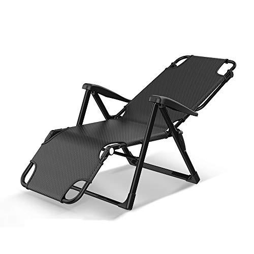 CHDE Chaiselongue Verstellbarer Klappstuhl Mittagspause Einzelbürostuhl Nickerchen Bett einfache tragbare Krankenhaus Klappbett Sommer durch den kühlen Stuhl, schwarz Klappbett