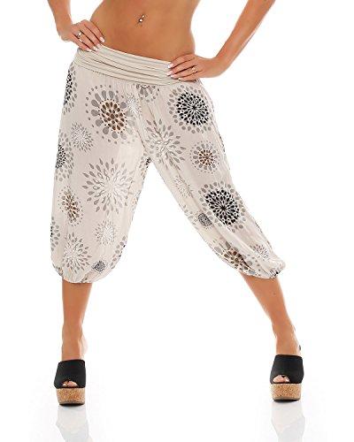 Zarmexx Damen 3/4 Pumphose Capri Pluderhose im Harem-Stil Kurze Sommerhose Yoga Aladinhose Knielang (Einheitsgröße 36/38/40, beige) - Blumen-pumphose
