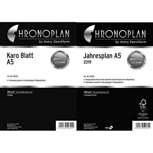 Chronoplan 50304 Formulare Karierte Blätter A5, 50 Blatt, weiß & 50279 Kalendereinlage 2019, Jahresplan A5 (mit Leporello-Falzung), weiß - Braune A5 Organizer
