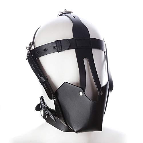 Ledergeschirr Ball Gully Plug Krawatte Maske Cosplay Binding Mask Unisex Gimp Maske, Halloween Maskerade Maske Universalgröße
