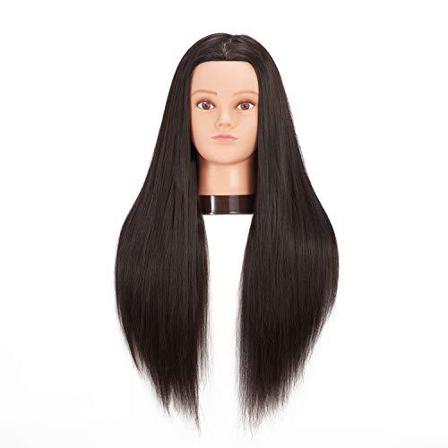 hairginkgo 66cm -71cm maniquí cabeza synthentic Cable de peluquería formación cabeza maniquí de peluquería con soporte pinza para mesa (91802W0220)