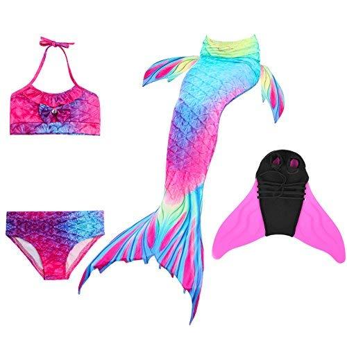 Decstore 4PCS Mädchen Badeanzug Meerjungfrau Schwanz Bademode Bikini-Set Kostüm für Schwimmen mit Monoflosse(rose Red+blue 110+Pink ()