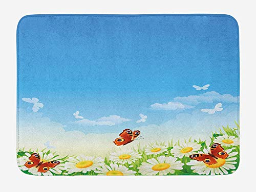Spring Bath Mat, Butterflies Flying Over Daisy Flowers Field Meadow Clear Cloudy Sky Cartoon Print, Plush Bathroom Decor Mat with Non Slip Backing, 23.6 W X 15.7 W Inches, Multicolor Butterfly Meadow Bunny