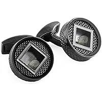 Tateossian Men Brass Black Cufflinks CL7171