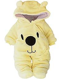 ZODOF Baby Onesies Lindos Bebé recién Nacido niño sólido Oso de Dibujos Animados de Terciopelo con Capucha Mono Mameluco Ropa