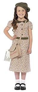 Smiffys-27533L Disfraz de niña evacuada, Estampado, con Vestido, Cartera, Etiqueta de identific, Color, L-Edad 10-12 años (Smiffy