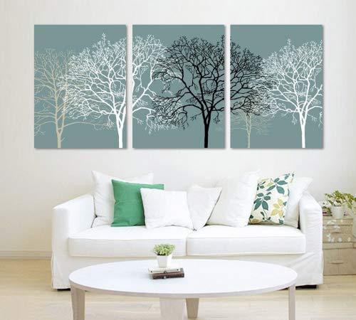 3 pieces noir et blanc Resume arbres fendus image de toile d'art 40 x 50 cm Toile mur motifs, Encadree, Pret a accrocher, toutes les images sur grand Real Charpente Bois # 14-167