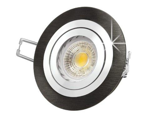 LED Einbau-Strahler RF-2 schwenkbar, Einbau-Leuchte Aluminium gebürstet schwarz eloxiert, SMD 3,5W warm-weiß, GU10 230V [IHRE VORTEILE: einfacher EINBAU, hervorragende LEUCHTKRAFT, LICHTQUALITÄT und VERARBEITUNG] Carport / Vordach (Warm Licht Weiss Eloxiertes Schwarz)