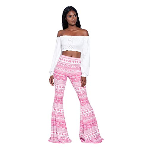 LUCKYCAT Damen Hosen Hippie Lang Weites Bein Schlaghose Freizeit Elatisch Party Club Comfy Stretchy Bell Bottom Flare Hosen Blumen Drucken Elegante Casual Hosen Festliche Abendgarderobe Partywear Cord-bell-bottom-jeans