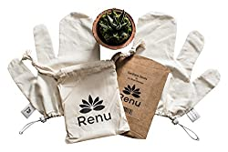 Garshana Massage Gloves NEW AND IMPROVED by Renu with ADJUSTABLE Wrist Strap and FREE Carry Pouch - Raw Silk Massage Gloves Ayurvedic Massage Exfoliating Gloves Dry Brushing Massage Glove