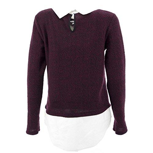 Girlie Shirt Täuschen Pullover Pullover Strickjacken Beiläufige Chiffon- Bluse New Bordeaux
