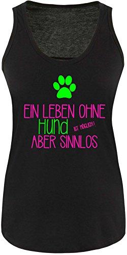 EZYshirt® Ein Leben ohne Hund ist möglich ! Aber sinnlos Damen Tanktop Schwarz/Pink/Neongr