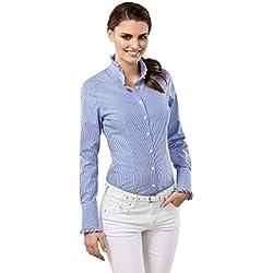 Vincenzo Boretti Camisa de Mujer Elegante y clásica, Ligeramente más angosta (Modern-fit), 100% algodón, Manga-Larga, Cuello Volantes, de Cuadros - no Necesita Plancha Azul 38