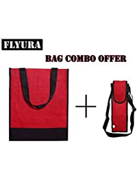 Flyura 1 Pocket Jute Tote Lunch Bag With Free Water Bottle Carry Bag Cover With Shoulder Strap (Red & Black)