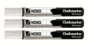 Nobo Kreidemarker (weiß, 3 Stück)