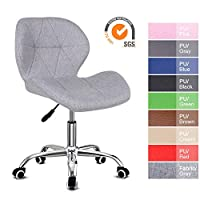 EUCO Desk chair,Office Chair Adjustable Height Computer Chair PU Leather Padded Swivel Chair,Home/Office Furniture,Black/Grey/Brown/Pink/Cream/Red/Blue/Green