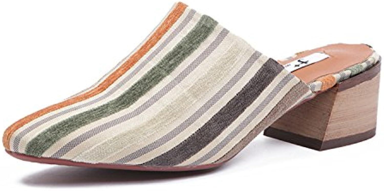 Qingchunhuangtang@ Square Sandales Sandales rayures Square Qingchunhuangtang@ porter des pantoufles avec brut de Baotou 01411c
