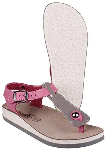 Fantasy Ladies Zante Leather Metal Buckle Anklestrap Sandal Pink Grey/Pink
