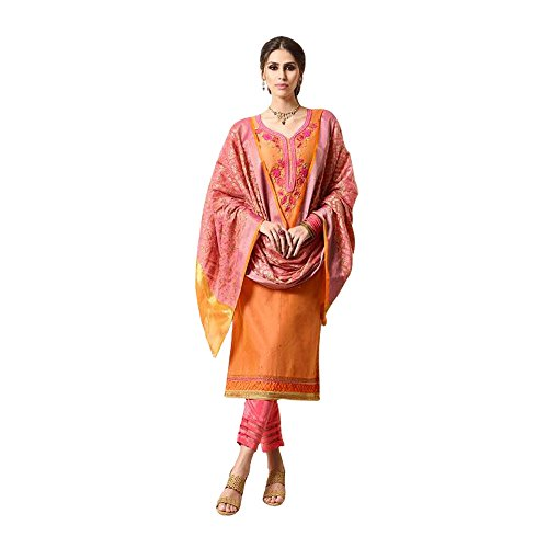 Like A Diva Orange & Pink Chanderi Floral Embroidered Salwar Kameez With...