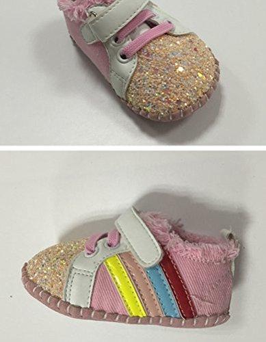 Ohmais Enfants Chaussure bebe garcon bebe fille premier pas Chaussure premier pas bébé sandale en cuir souple pink