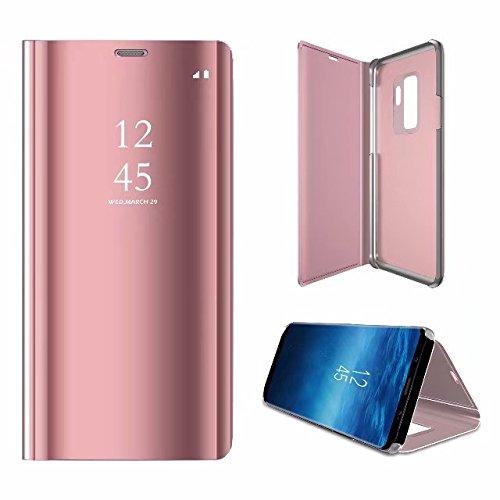 Shinyzone Spiegel Hülle für Samsung Galaxy S9 Plus, Stilvoll Roségold Klar Spiegel Leder Handyhülle [Galvanotechnik] Faltbare Standfunktion,Hart Bumper Stoßfeste Schutzhülle -