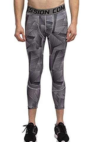 Cody Lundin®Hommes Compression pantalon Motifs de lignes irrégulières Fitness Sports Pantalons Response Collant 3/4 Homme Pro Shorts (S, Gray)