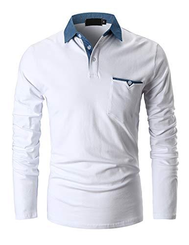 GHYUGR Polo Homme Manche Longue Casual T-Shirt Coupe Mince Slim Fit Coutures en Denim Tops M-XXL