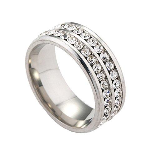 Smile YKK Zirkonia Deko Damen Herren Edelstahl Ring Fingerring Freundschaftsring Partnerring Silber 11