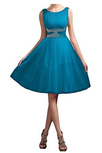 Colletto rotondo avalaya TOSKANA sposa la sera vestimento breve lunghezza al ginocchio tulle damigella Cocktail Party vestimento Blu