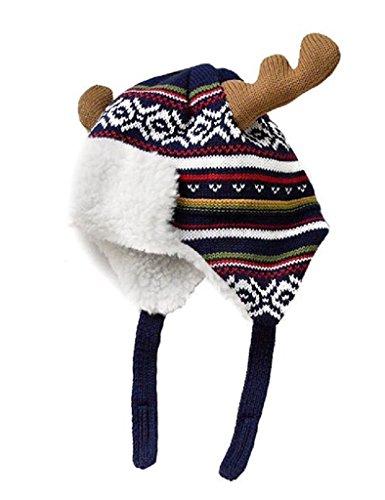 Dezentes Jungen Weihnachten Hüte Baumwolle Brokat Knit Cap Elk Horn Bomber Hat Colorful Gr. Medium, Blau