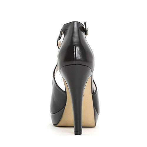 ALESYA by Scarpe&Scarpe - Sandalen mit Absatz und Überkreuz-Detail, Leder, mit Absätzen 11 cm Schwarz