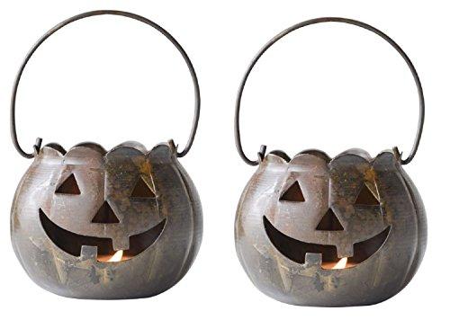 l Halloween-Kürbislaterne Deko-Teelichthalter-Set von 2 ()