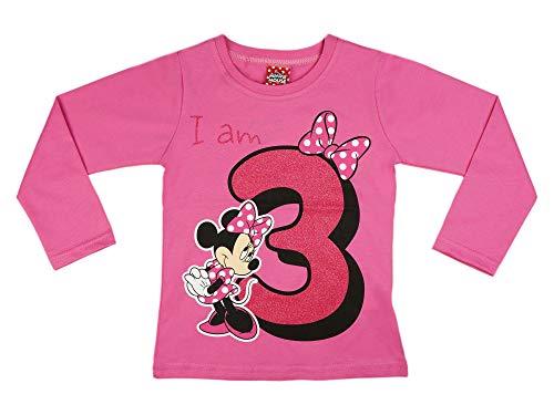 Mädchen Baby Kinder dritter Geburtstag T-Shirt 3 Jahre Birthday Outfit GRÖSSE 98 104 Minnie Mouse Disney Design Glitzer Weiss oder Rosa Babyshirt Oberteil Farbe Rosa, Größe 104