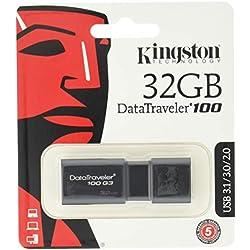 Kingston DT100G3/32 GB DataTraveler 100 G3, USB 3.0, 3.1 Flash Drive, 32 GB, Nero