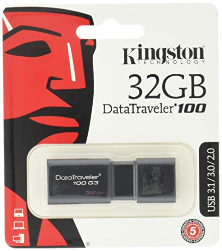 Kingston DT100G3/32 GB DataTraveler 100 G3, USB 3.0, 3.1 Flash Drive, 32 GB, Nero
