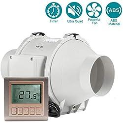 """HG POWER 4"""" ventilateur d'extracteur en ligne avec Minuteur Contrôleur Extracteur de Conduit silencieux pour la cuisine, les tentes de culture, l'atelier, hydroponique (ø100mm)"""