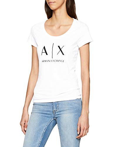 Armani Exchange Damen Logo SS T-Shirt, Weiß (Optic White 1000), Small (Herstellergröße:S)