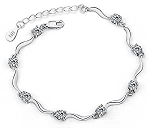 Yellow Chimes Curves Designer Sterling Silver Crystal Bracelet for Women and Girls