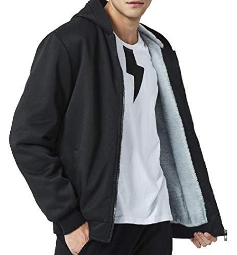 CuteRose Mens Fleece Lined Casual Loose Sweatshirts with Ribbing Edge Black 2XL Edge-zip Fleece