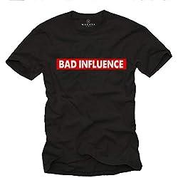 MAKAYA Camiseta con Frases graciosas - Bad Influence - T-Shirt Divertidas Hombre Negro XL