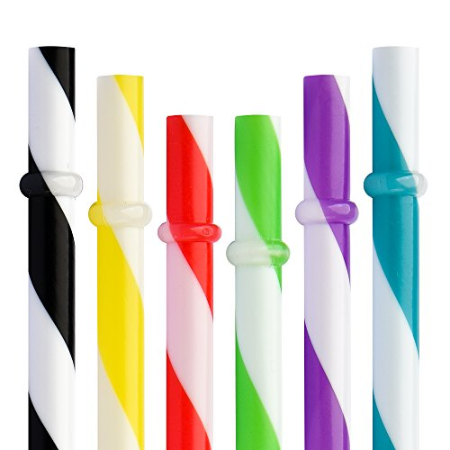 2Stück 22,9cm wiederverwendbar Kunststoff Dick Trinkhalme für Mason Jar Yeti Rambler Big Stripe mix 6color (Mason Jar Tags)