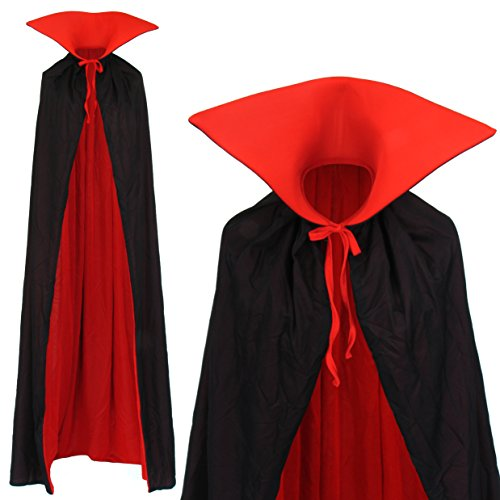 Imagen de vampiro cabo cape reversible con cuello alto negro rojo del vampiro 170cm larga capa del cabo de traje adulto familias dracula disfraz alternativa