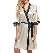 Keland Femme Kimono Robe de Chambre Satin Sexy Vêtements de Nuit en Dentelle