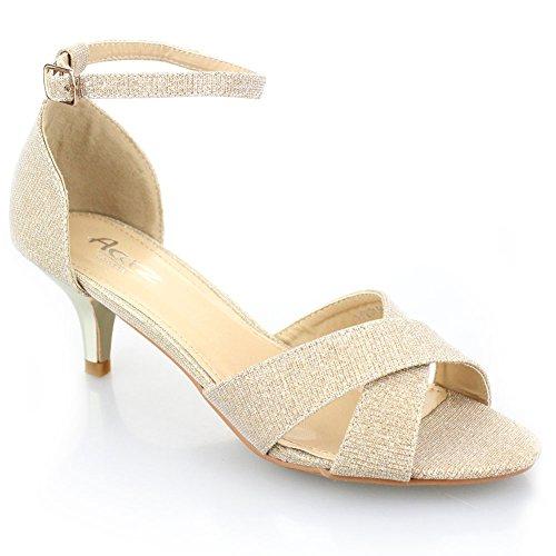 Aarz signore delle donne di sera del partito di promenade casuale tacco basso sandalo Dimensioni (oro, argento, champagne, nero)