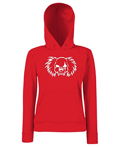 T-Shirtshock - Sweats a capuche Femme FUN1022 clown vampire skull decal 32115 Rouge