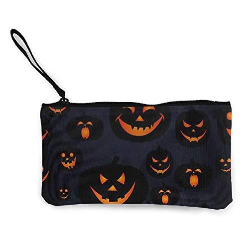 dewdferf Coin Purse Evil Pumpkin Halloween Cute Travel Makeup Pencil Pen Case With Handle Cash Canvas Zipper Pouch 4.7