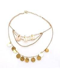 Femme Collier Multi Rangs Pendentif Coquillage Perles Chaîne Choker Vintage