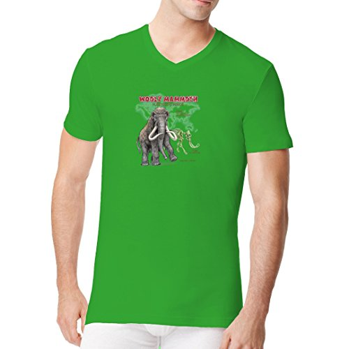 Fun Männer V-Neck Shirt - Urzeit: Wollhaarmammut by Im-Shirt Kelly Green